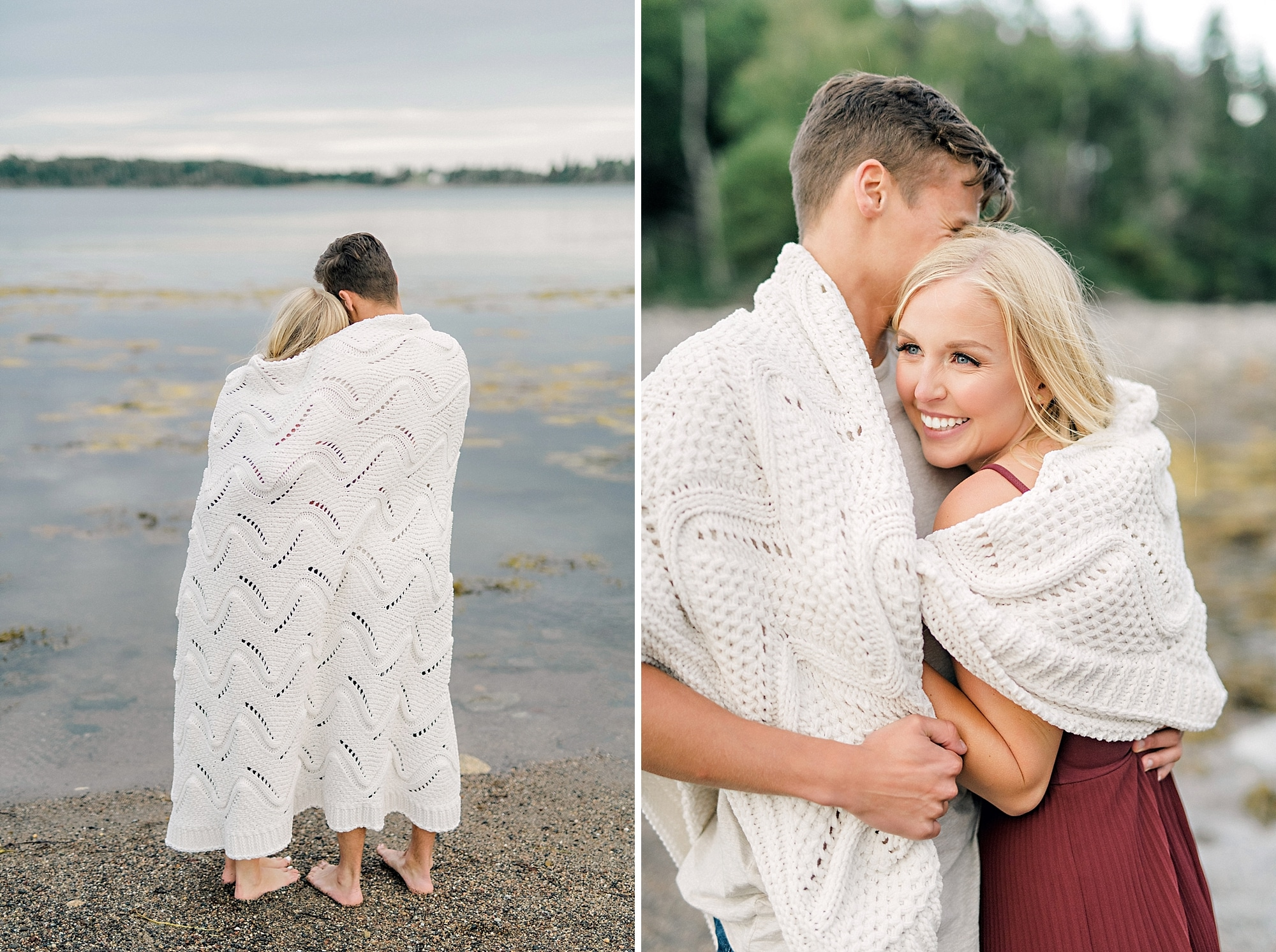 a couple cuddling under a blanket on the beach
