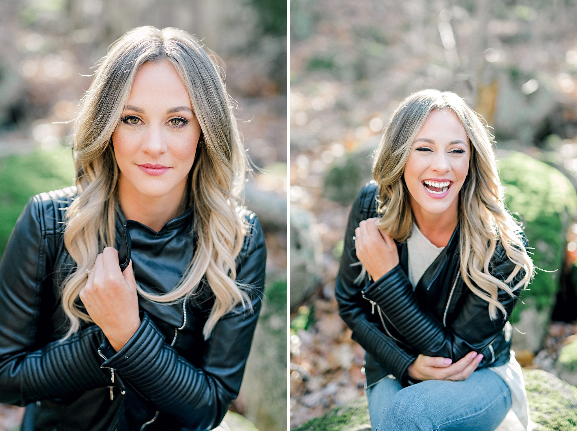 laughing smiling girl during headshots wearing leather jacket
