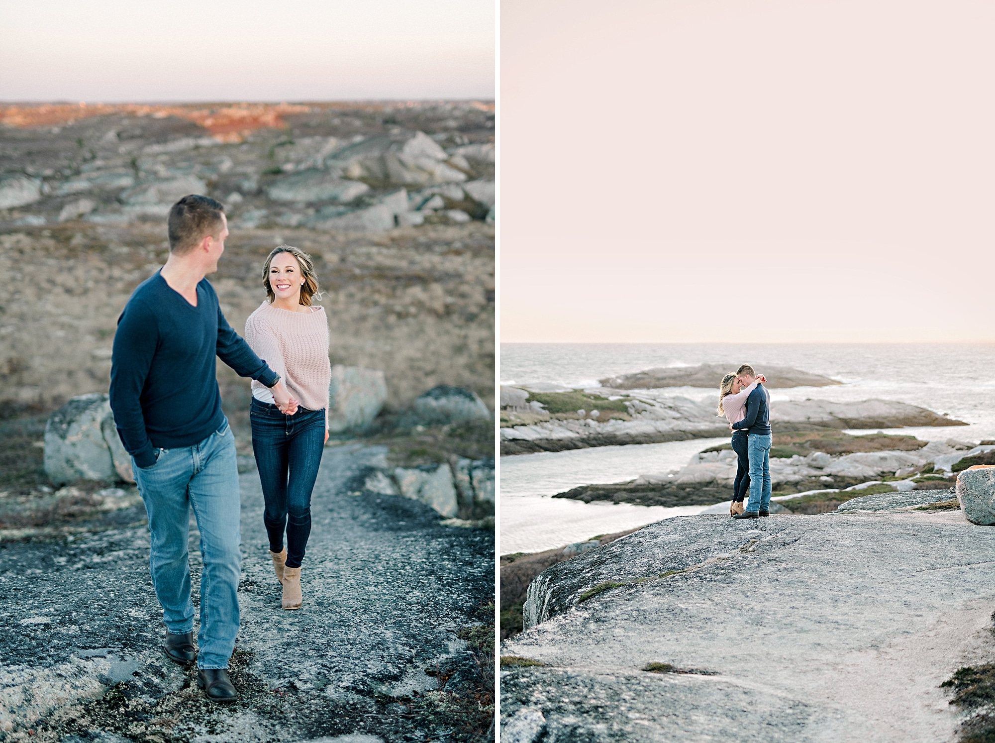 couple standing in embrace on rocks overlooking pink sky and ocean