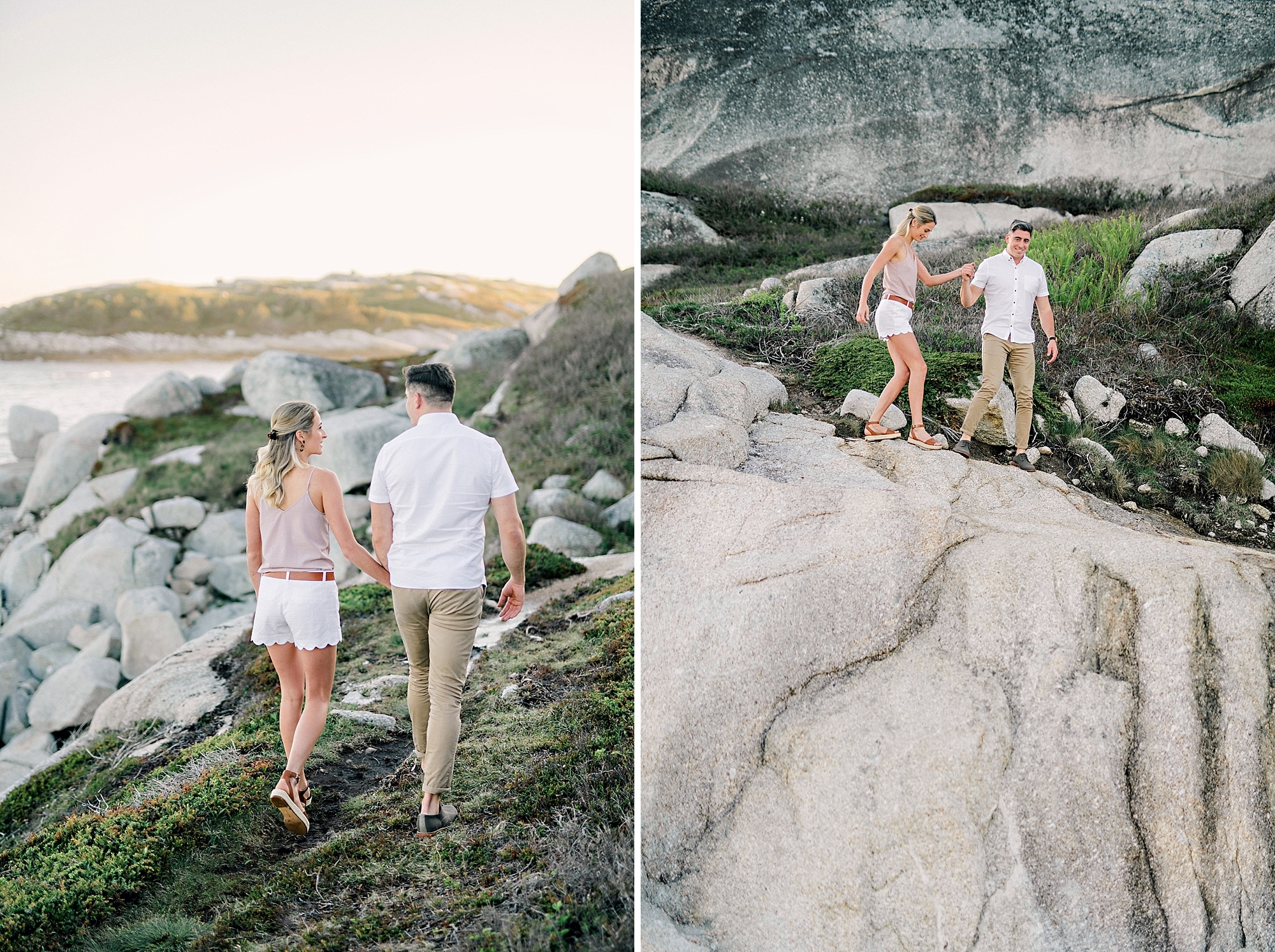 hiking down the rocks during an engagement session by candace berry photography