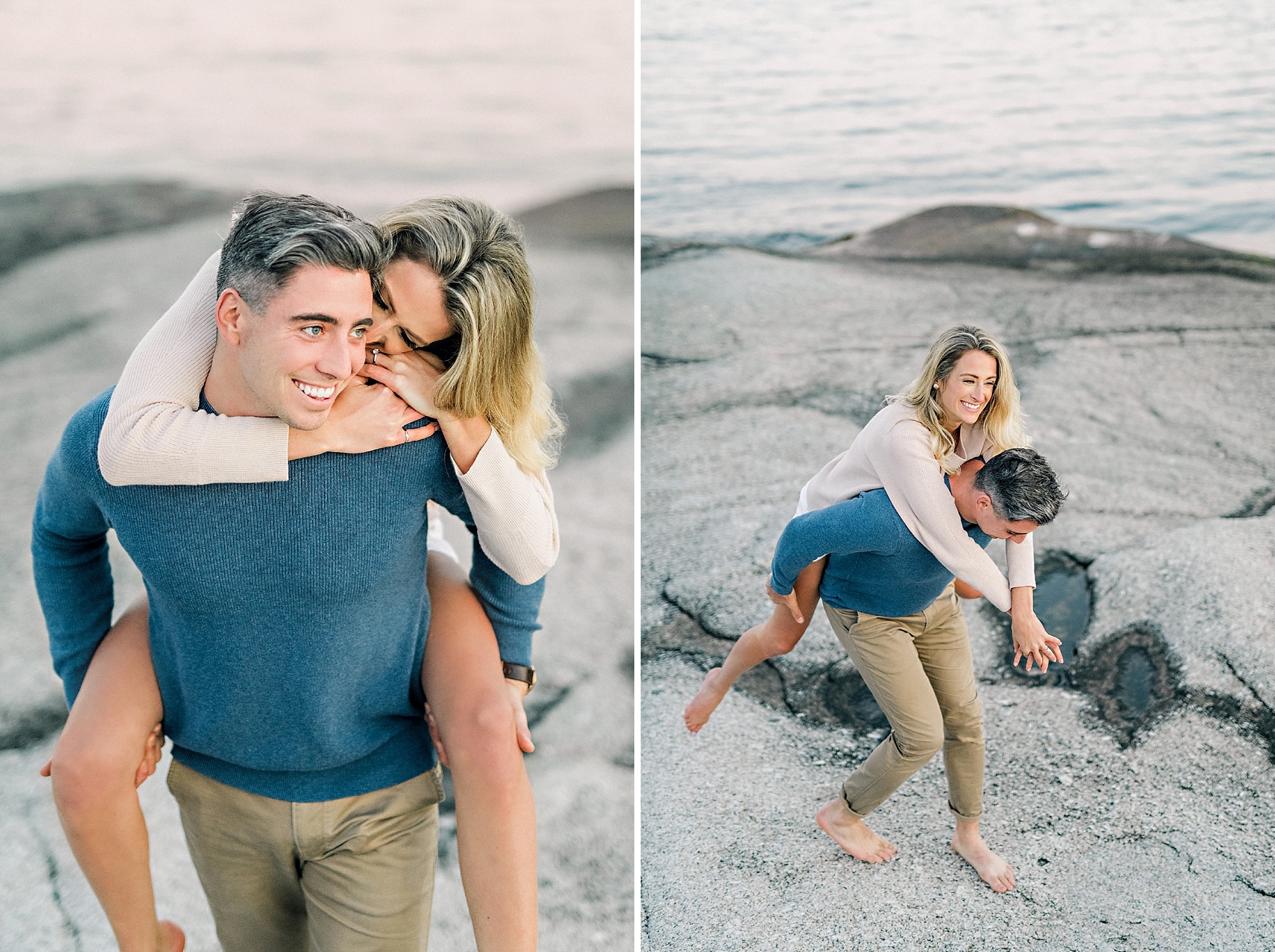 playful couple having piggy back ride on the rocks by the ocean during photoshoot