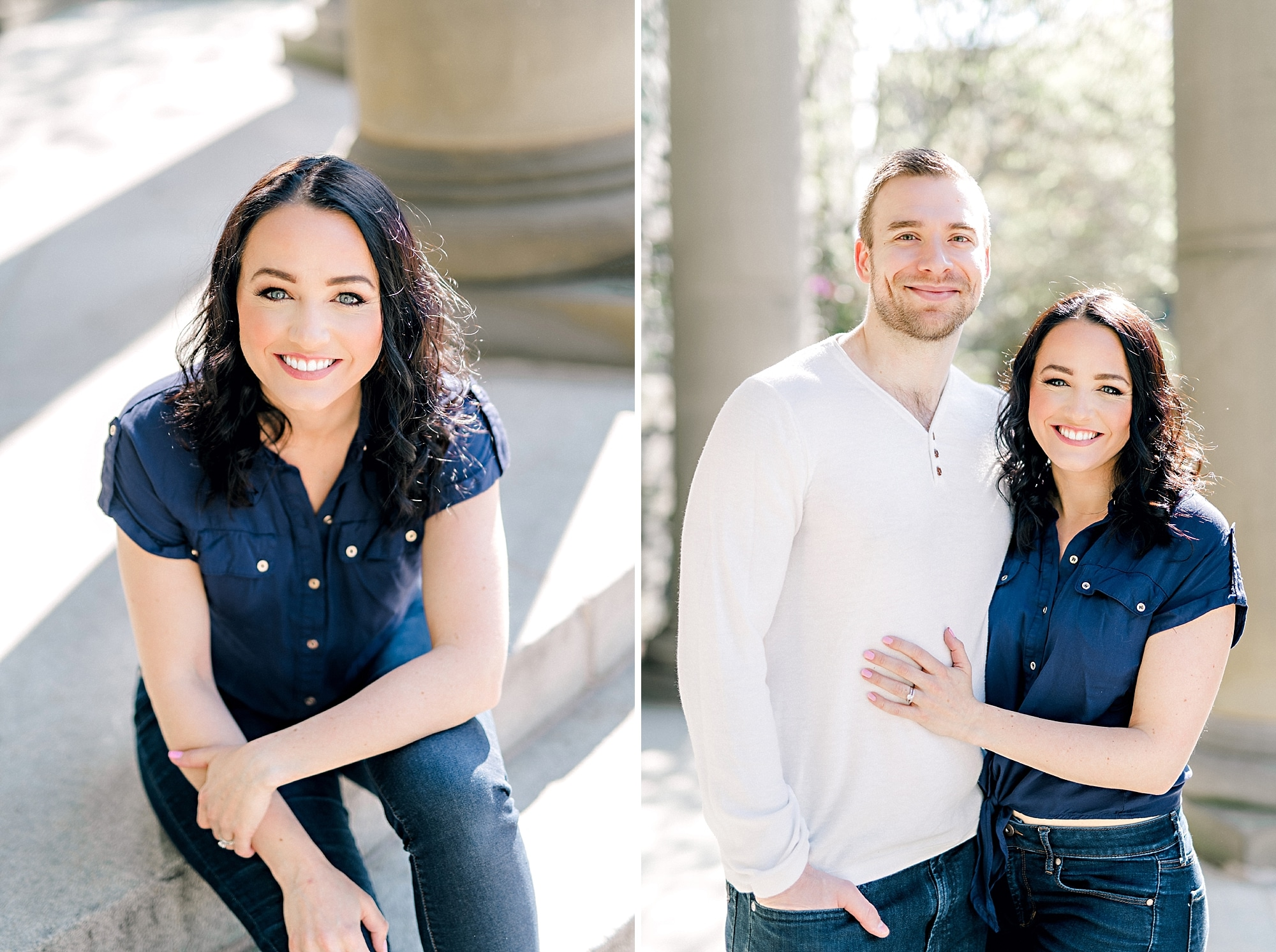 beautiful couple smiling for the camera during their family photoshoot