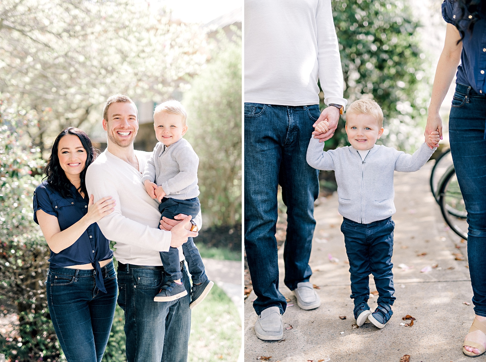 little toddler boy holding his mom and dads hands while smiling for photos at a family photoshoot in halifax